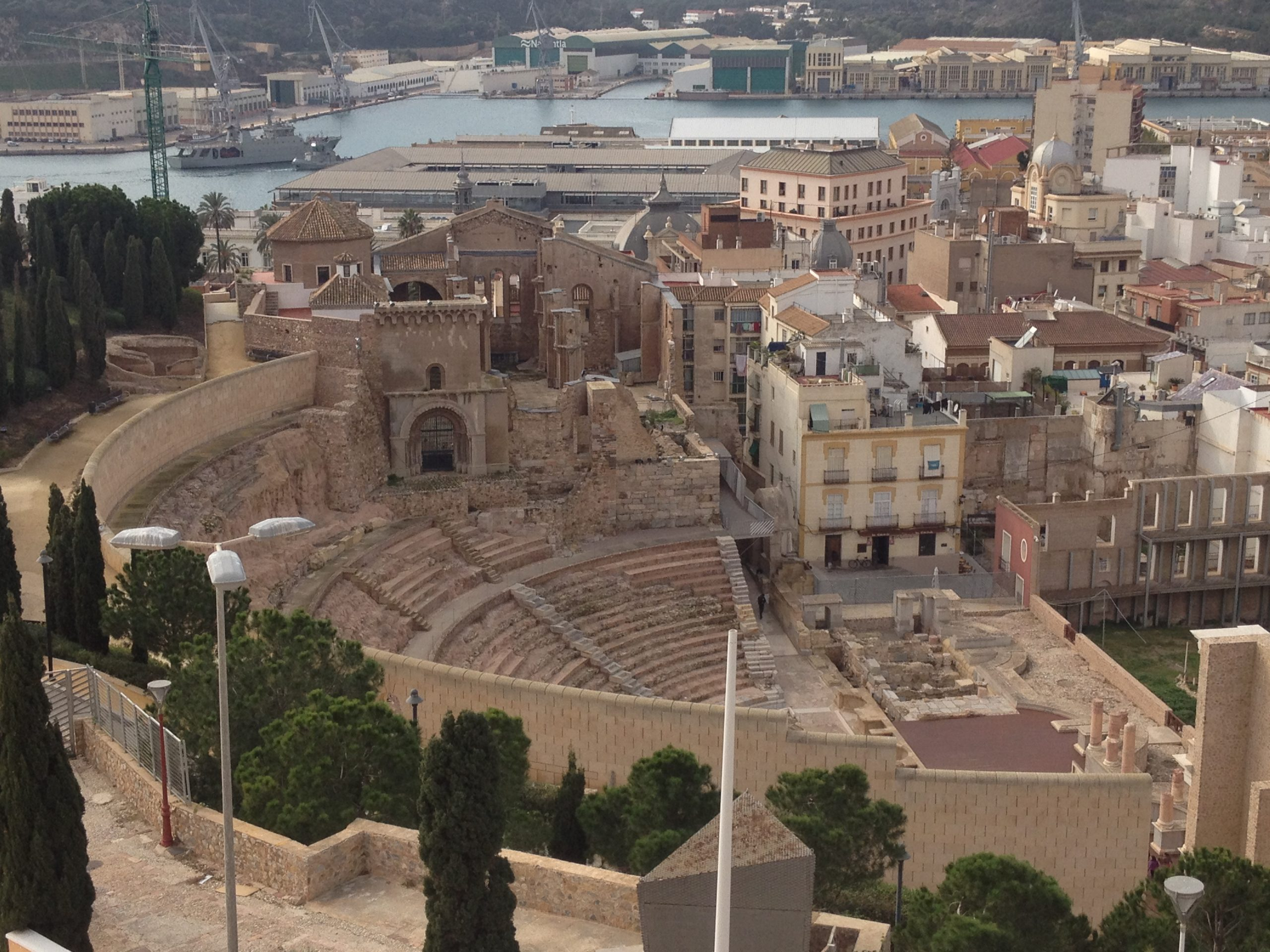 Panoramic view of the ROman Theatre in Cartagena Spain