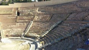 Panoramic viw of the Roman Thatre from the inside in Cartagena Spain